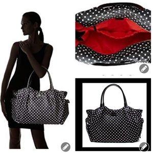 Kate Spade Stevie black white polka dot diaper bag